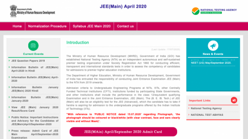 JEE Mains 2020 Results Out